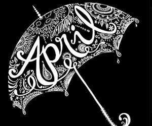 april, black and white, and umbrella image