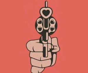 wallpaper, gun, and red image