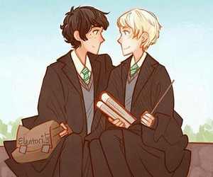 harry potter, scorpius malfoy, and slytherin image