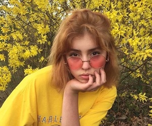 yellow, girl, and aesthetic image