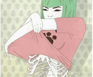 cartoon anime, 猫, and cute but creepy image