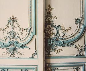 door, blue, and vintage image