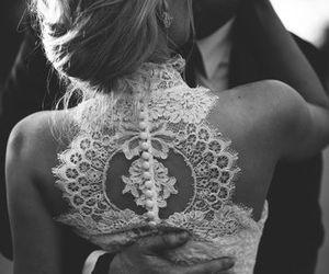 wedding, black and white, and girl image