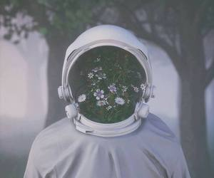astronaut, flowers, and daisy image