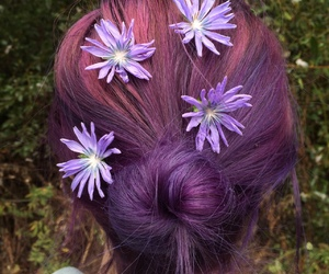 aesthetic, hairstyle, and purple hair image