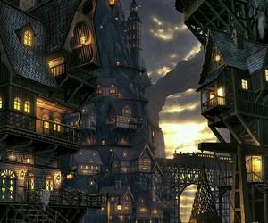 fantasy, landscape, and lights image