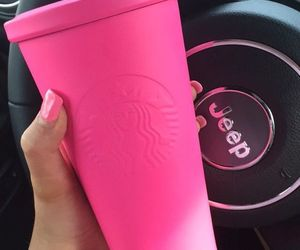 starbucks, pink, and jeep image
