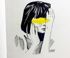 art, girl, and yellow image