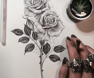 art, tatto, and flower image