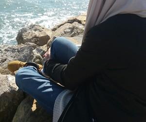 beach, hijab, and muslima image