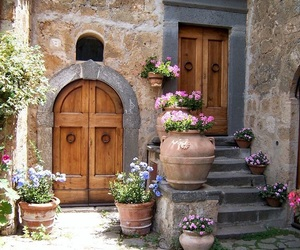 door, flowers, and wood image