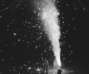 fireworks and black and white image