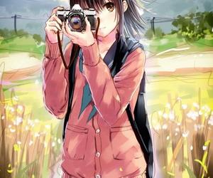 anime girl, nature, and school+uniform image