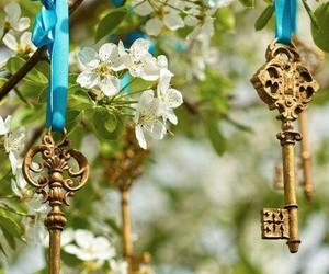 key, flowers, and blue image