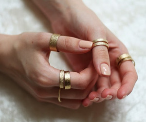 girl, gold, and nails image