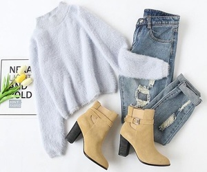 boot, girl, and sweater image
