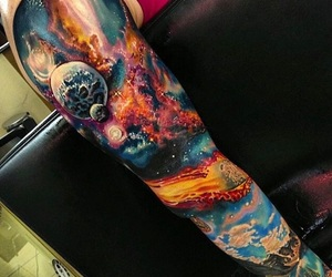 tattoo, colorful, and galaxy image