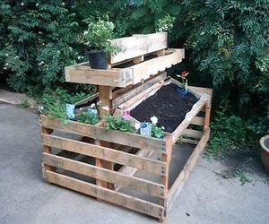 pallet potting bench, pallet benches, and diy potting bench image
