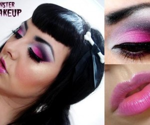 makeup, pink, and psychobilly image