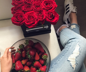 flowers, strawberry, and rose image