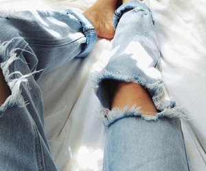 fashion, destroyed jeans, and jeans image