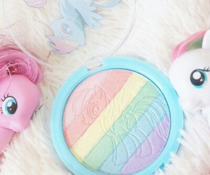 make up, pink, and rainbow image