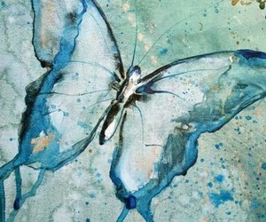 art, blue, and butterfly image