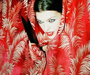 mila jovovich, red, and photographer chris floyd image