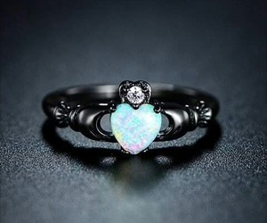 ring, heart, and black image