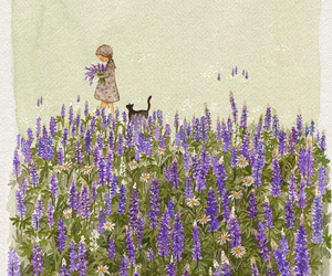 cat, flowers, and girl image