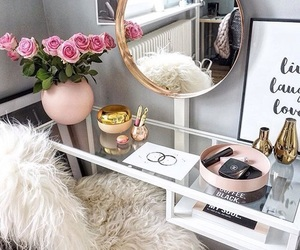 makeup, room, and flowers image