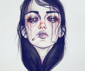 art, sad, and cigarette image