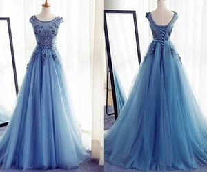 dress, azul, and largo image