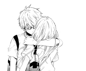 hug, anime, and black and white image