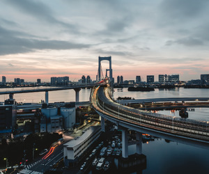 bridge, rainbow, and tokyo image