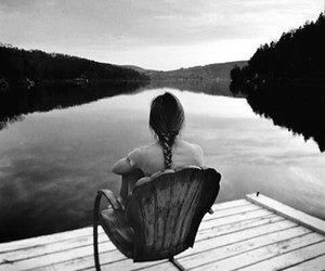 lake, alone, and black and white image