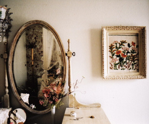 vintage, mirror, and flowers image