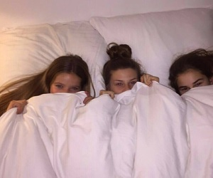 besties, sleepover, and bed image