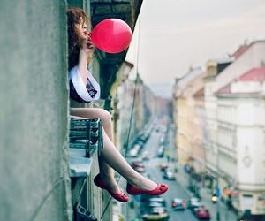 girl, balloons, and city image