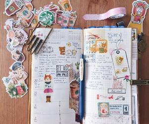 journal, stickers, and mixed media image