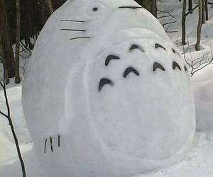totoro, snow, and studio ghibli image