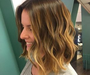 hairstyle, lob, and balayage image