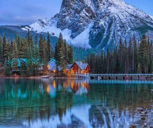 british columbia, log cabin, and outdoors image