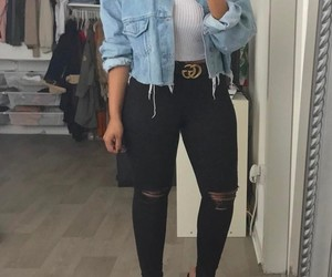 black ripped jeans, long straight black hair, and black belts image