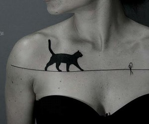 tattoo, cat, and black image