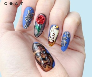 beauty and the beast, nail art, and nails image