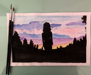 colorful, drawings, and landscape image