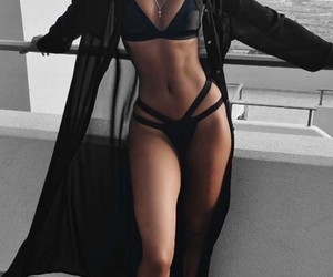 bikini, black, and swim wear image