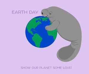 earth day, hug, and manatee image