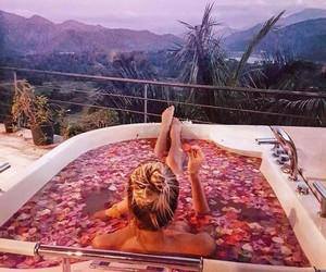bath, rose, and travel image